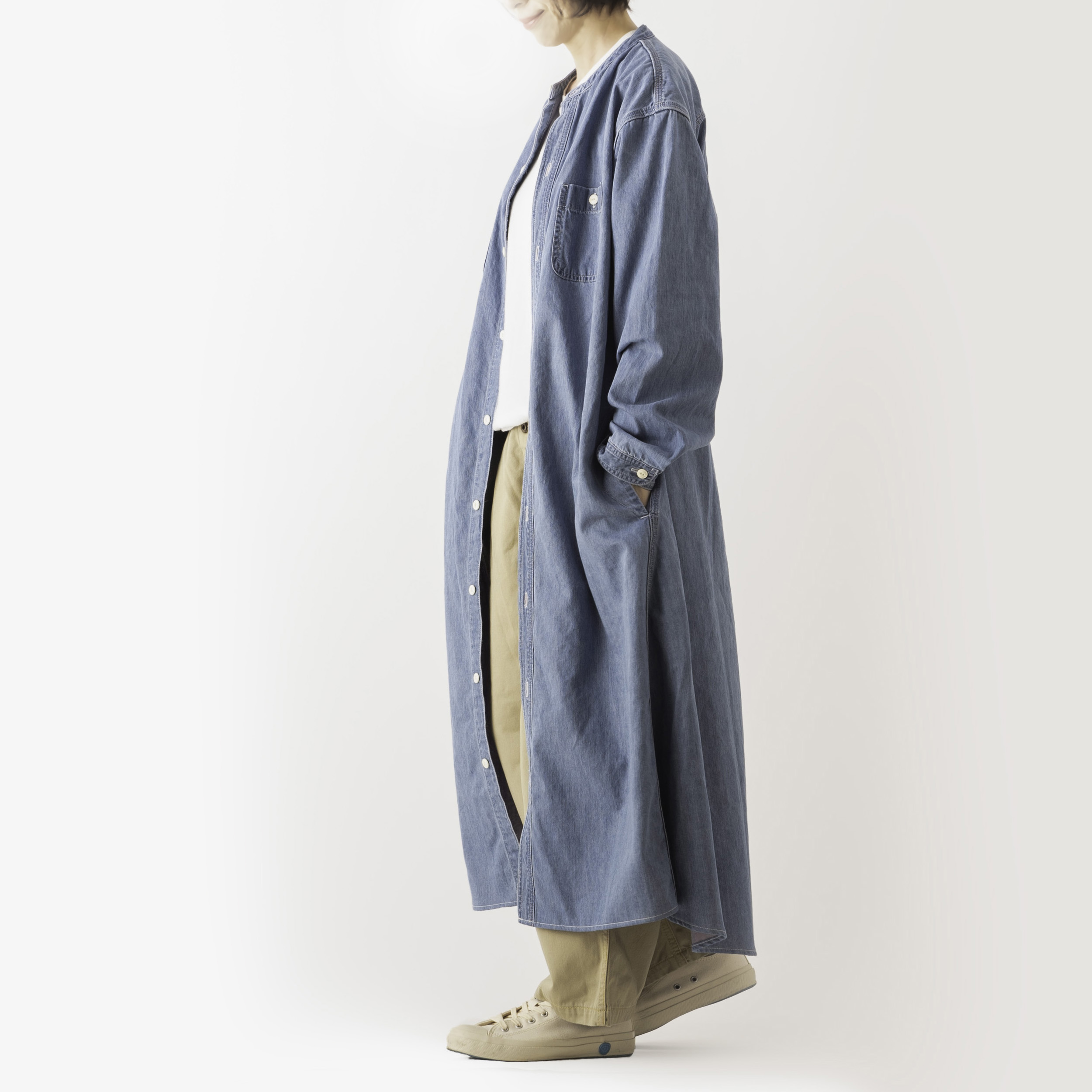 SAKURA denim shirt dress FADED ID【さくらシャツワンピース】